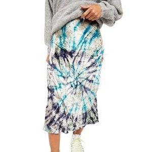 Free people midi tie-dye velvet skirt